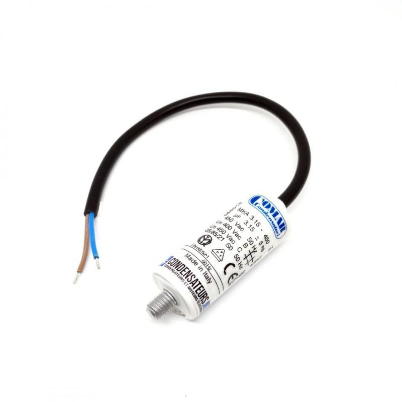 Condensateur permanent 3.15µf à cable pour moteur électrique
