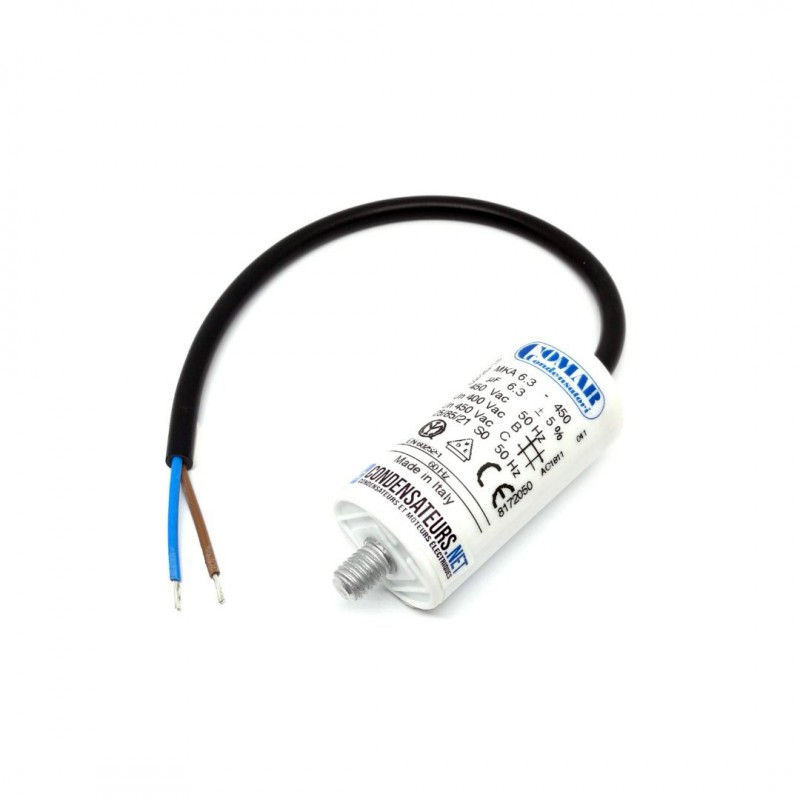 Condensateur permanent 6,3µF à câble pour moteur électrique