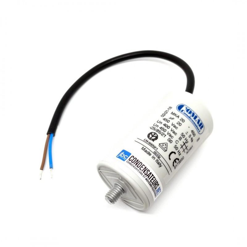 Condensateur permanent 20µF à câble pour moteur électrique