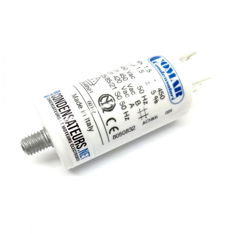 Condensateur permanent 1,5µF à cosses pour moteur électrique