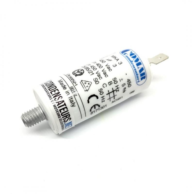 Condensateur permanent 3µF à cosses pour moteur électrique