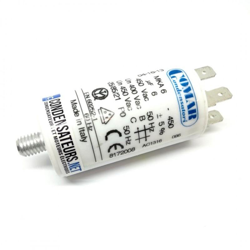 Condensateur permanent 6µF à cosses pour moteur électrique