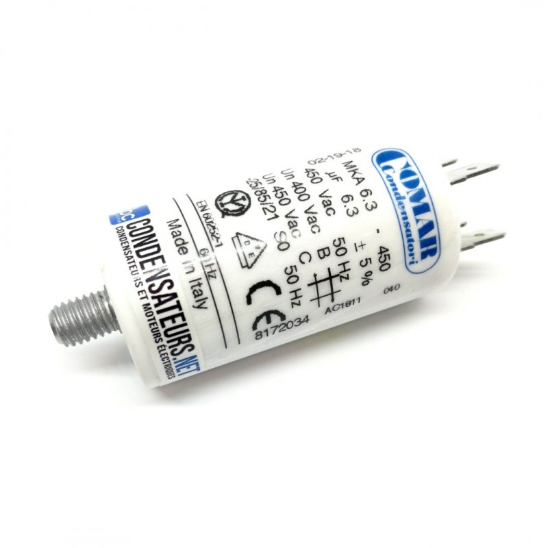 Condensateur permanent 6,3µF à cosses pour moteur électrique